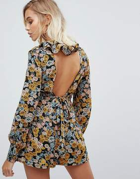 Fashion Union Romper With Low Back In Floral Print