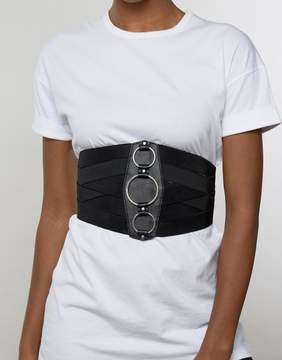 Asos Wide Elasticated Corset Belt With Ring Detail