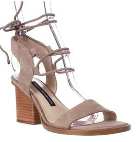 French Connection Jalena Lace Up Ankle Strap Sandals, Earth/earth.
