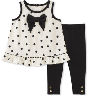 Kate Spade New York Polka Dot Bow Tank Top W/ Leggings, Size 12-24 Months