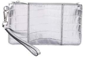 Judith Leiber Metallic Embossed Leather Wristlet