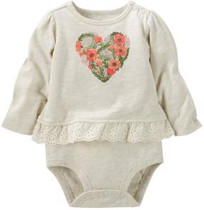 Osh Kosh Baby Girl Graphic Eyelet Mocklayer Bodysuit