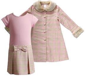 Youngland Toddler Girl Metallic Plaid Faux-Fur Jacket & Ribbed Knit Dress Set