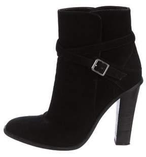 Saint Laurent Suede Square-Toe Ankle Boots