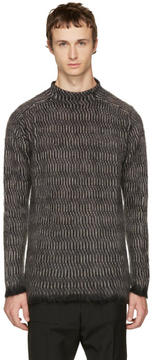 Rick Owens Black Oversized Jacquard Sweater