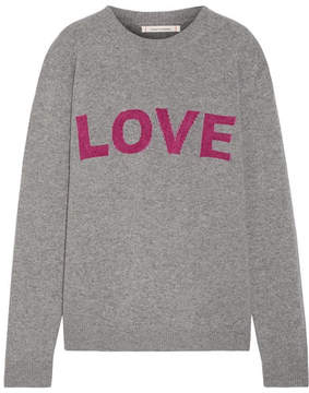 Chinti and Parker Love Intarsia Wool And Cashmere-blend Sweater - Gray
