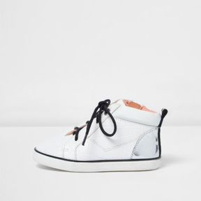 River Island Mini girls white lace up smudge sneakers