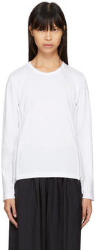 Comme des Garcons White Long Sleeve Side Zip T-Shirt