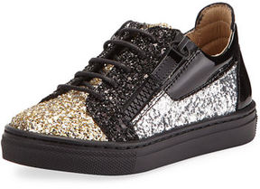 Giuseppe Zanotti Glittered Leather Sneaker, Youth