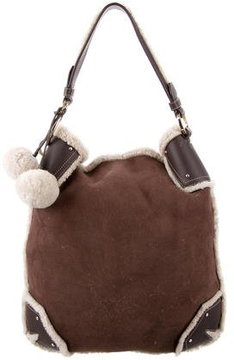 Bally Shearling-Trimmed Suede Bag