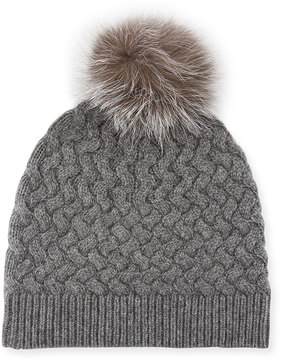Neiman Marcus Cashmere Basketweave Knit Beanie with Fox Fur Pompom