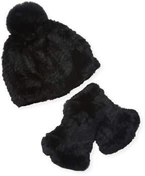 Adrienne Landau Women's Rex Fingerless Gloves & Hat