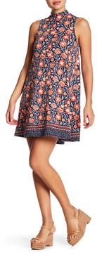 Angie Mock Neck Printed Swing Dress