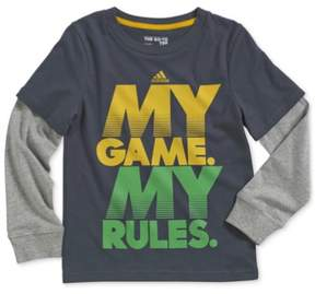 adidas Boys My Game My Rules Graphic T-Shirt Grey 2T - Toddler