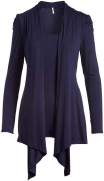Celeste Navy Ruched Layered Open Cardigan - Women