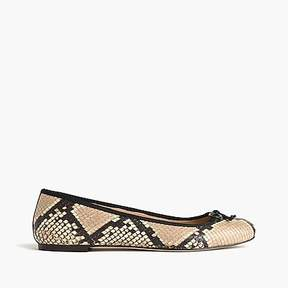 J.Crew Lily ballet flats in snakeskin-printed leather