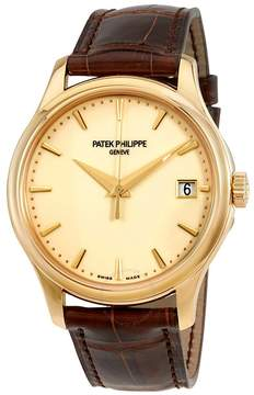 Patek Philippe Calatrava Ivory Dial 18kt Yellow Gold Brown Leather Men's Watch -001