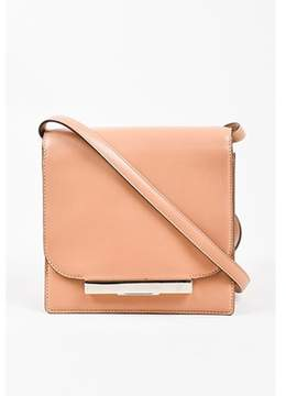 The Row Pre-owned Tan & Silver Tone Leather Minimalist Classic Shoulder Flap Bag.