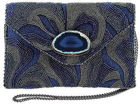 Mary Frances Earth Energy Navy Beaded Embroidered Crossbody Clutch