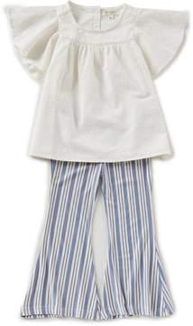 Jessica Simpson Little Girls 2T-6X Voile Flutter-Sleeve Top & Striped Bell Bottom Pants Set
