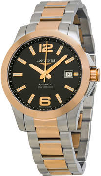Longines Conquest Automatic Black Dial Rose Gold and Stainless Steel Men's Watch