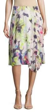 Basler Floral-Print Asymmetric Ruffled Skirt