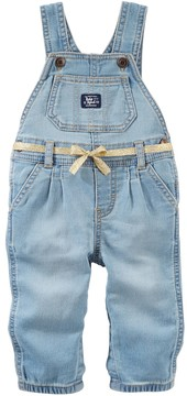Osh Kosh Baby Girl Pleated Denim Overalls with Belt