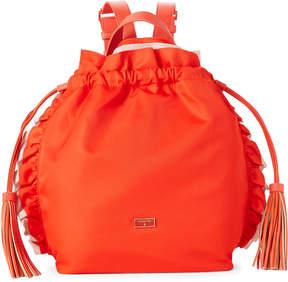 Patrizia Pepe Orange Drawstring Nylon Ruffle Backpack