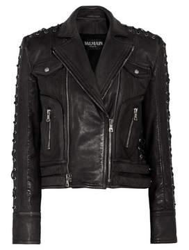 Balmain Lace Up-detailed Textured-leather Biker Jacket - Black