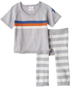 Cuddl Duds Baby Boy Striped Knit Top & Pants Set