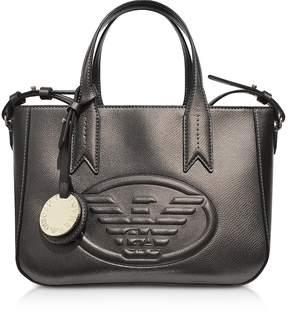 Emporio Armani Dark Gray/Steel Embossed Eagle Small Tote Bag