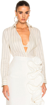 Brock Collection Baylee Blouse in Blue,Stripes,White.