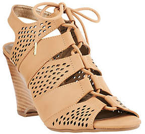 Me Too As Is Leather Tie Front Perforated Wedges - Basil