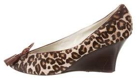 Bettye Muller Animal Print Peep-Toe Wedges