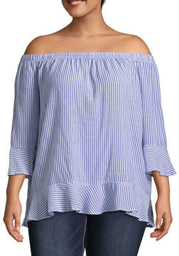 Boutique + + 3/4 Sleeve Striped Woven Blouse - Plus