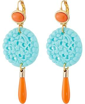 Kenneth Jay Lane 7849ECTCP Small Gold and Top with Carved and Drop wire Earrings Earring