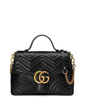 Gucci GG Marmont Medium Chevron Quilted Top-Handle Bag with Chain Strap - BLACK - STYLE