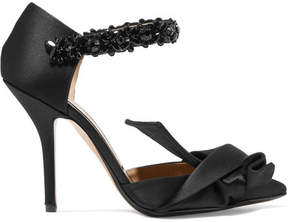 No.21 No. 21 - Embellished Knotted Satin Pumps - Black