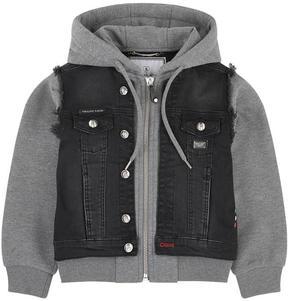 Philipp Plein Bi-material jean jacket