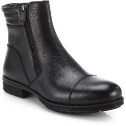 Aquatalia Hugh Shearling-Lined Leather Ankle Boots