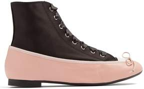 Marco De Vincenzo Ballet high-top satin and leather trainers