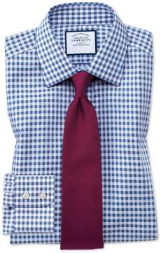 Charles Tyrwhitt Extra Slim Fit Non-Iron Gingham Mid Blue Cotton Dress Shirt Single Cuff Size 14.5/32