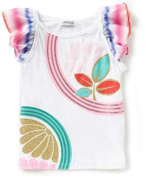 Flapdoodles Little Girls 2T-6X Chiffon Sleeve Printed Tee