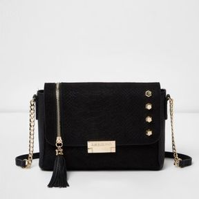 River Island Womens Black studded tassel cross body bag