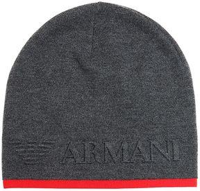 Armani Junior Doubled Knit Wool Blend Beanie Hat