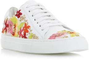 Dune London EVANNA - WHITE Embroidered Lace Up Sneaker