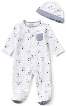 Little Me Baby Boys Preemie-9 Months Puppy Toile Printed Footed Coverall & Hat Set