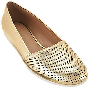 Halston H by Perforated Leather Slip-On Shoes- Leah