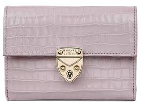 Aspinal of London Small Mayfair Purse In Deep Shine Lilac Small Croc