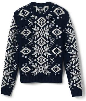 Lands' End Lands'end Men's Wool Blend Snowflake Crewneck Sweater